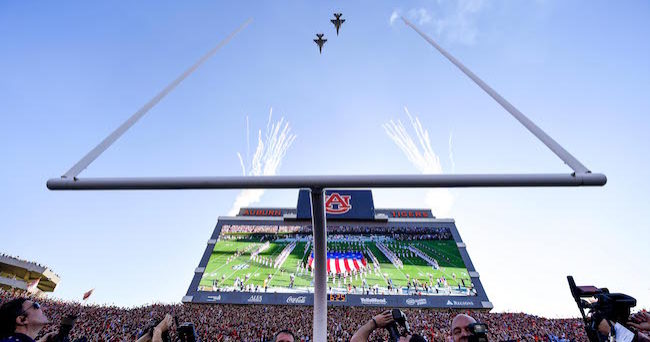 Nov 28, 2015; Auburn, AL, USA; General view of a flyover prior to the game between the Auburn Tigers and the Alabama Crimson Tide at Jordan Hare Stadium. Mandatory Credit: Shanna Lockwood-USA TODAY Sports