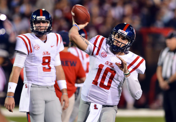 Nov 28, 2015; Starkville, MS, USA; Mississippi Rebels quarterback Chad Kelly (10) warms up before the game against the Mississippi State Bulldogs at Davis Wade Stadium. Mandatory Credit: Matt Bush-USA TODAY Sports