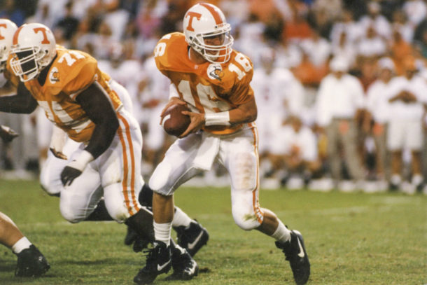 KNOXVILLE, TN - OCTOBER 15, 1994 - quarterback Peyton Manning of the Tennessee Volunteers during the game against the Alabama Crimson Tide in Knoxville, TN.