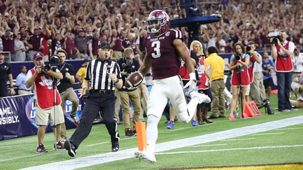 Sep 5, 2015; Houston, TX, USA; Texas A&M Aggies wide receiver Christian Kirk (3) returns a punt return for a 79 yard touchdown against the Arizona State Sun Devils in the second quarter at NRG Stadium. Mandatory Credit: Thomas B. Shea-USA TODAY Sports