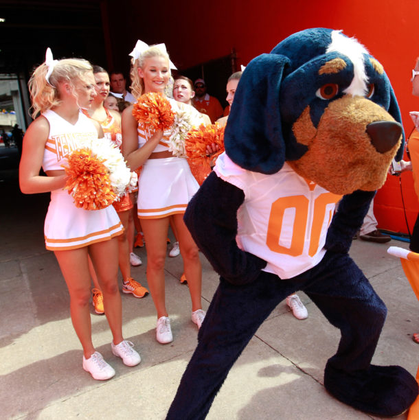 Sep 26, 2015; Gainesville, FL, USA; Tennessee Volunteers mascot and cheerleaders before the game against the Florida Gators at Ben Hill Griffin Stadium. Mandatory Credit: Kim Klement-USA TODAY Sports