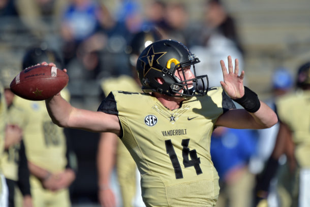Nov 14, 2015; Nashville, TN, USA; Vanderbilt Commodores quarterback Kyle Shurmur (14) during warm ups prior to the game against the Kentucky Wildcats at Vanderbilt Stadium. Mandatory Credit: Jim Brown-USA TODAY Sports