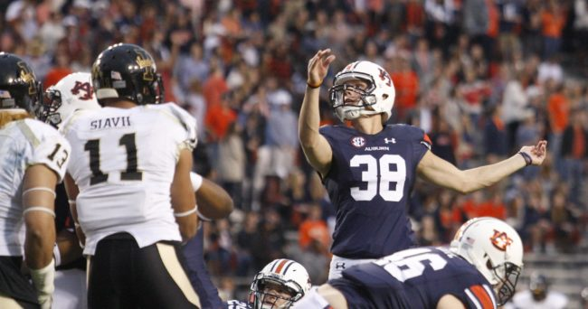 Nov 21, 2015; Auburn, AL, USA; Auburn Tigers kicker Daniel Carlson (38) kicks an extra point against the Idaho Vandals during the second quarter at Jordan Hare Stadium. Mandatory Credit: John Reed-USA TODAY Sports