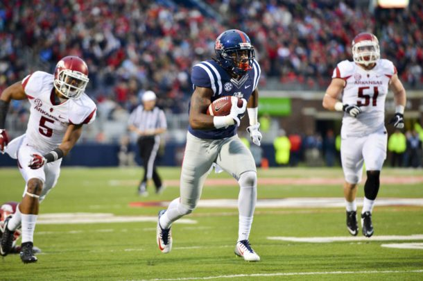Nov 7, 2015; Oxford, MS, USA; Mississippi Rebels wide receiver Damore'ea Stringfellow (3) runs the ball during the third quarter of the game against the Arkansas Razorbacks at Vaught-Hemingway Stadium. Arkansas won 53-52. Mandatory Credit: Matt Bush-USA TODAY Sports