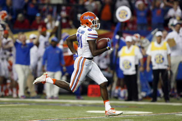 Dec 5, 2015; Atlanta, GA, USA; Florida Gators wide receiver Antonio Callaway (81) runs for an 85 yard punt return for a touchdown against the Alabama Crimson Tide during the second quarter of the 2015 SEC Championship Game at the Georgia Dome. Mandatory Credit: Jason Getz-USA TODAY Sports