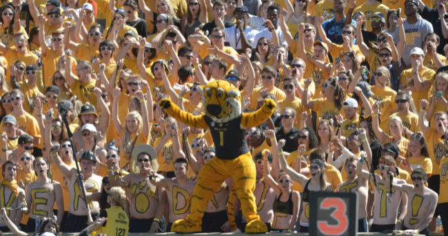 Sep 19, 2015; Columbia, MO, USA; The Missouri Tigers mascot Truman entertains fans during the game against the Connecticut Huskies at Faurot Field. Missouri won 9-6. Mandatory Credit: Denny Medley-USA TODAY Sports