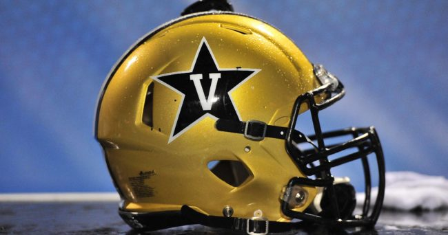 "Oct 3, 2015; Murfreesboro, TN, USA; Vanderbilt Commodores helmet on the sideline during the second half against the Middle Tennessee Blue Raiders at Johnny ""Red"" Floyd Stadium. Vanderbilt won 17-13. Mandatory Credit: Jim Brown-USA TODAY Sports"