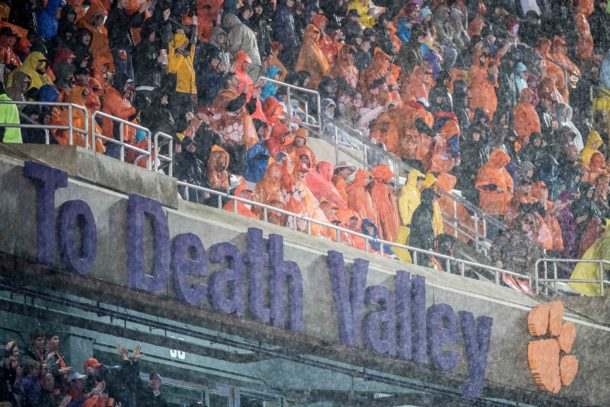 Oct 3, 2015; Clemson, SC, USA; Clemson fans cheer in the third quarter as rain falls in the game against the Notre Dame Fighting Irish at Clemson Memorial Stadium. The Clemson Tigers defeated Notre Dame 24-22. Mandatory Credit: Matt Cashore-USA TODAY Sports