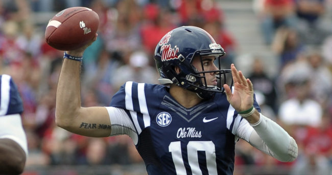 Oct 10, 2015; Oxford, MS, USA; Mississippi Rebels quarterback Chad Kelly (10) throws the ball during the game against the New Mexico State Aggies at Vaught-Hemingway Stadium. Mandatory Credit: Justin Ford-USA TODAY Sports