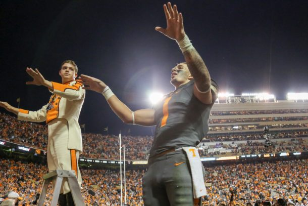 Oct 10, 2015; Knoxville, TN, USA; Tennessee Volunteers running back Jalen Hurd (1) directs the band after the game against the Georgia Bulldogs at Neyland Stadium. Tennessee won 38 to 31. Mandatory Credit: Randy Sartin-USA TODAY Sports