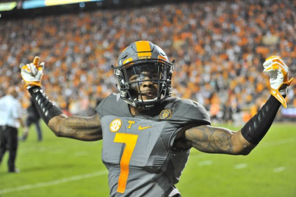 Oct 10, 2015; Knoxville, TN, USA; Tennessee Volunteers defensive back Cameron Sutton (7) celebrates after defeating the Georgia Bulldogs during the second half at Neyland Stadium. Tennessee won 38-31. Mandatory Credit: Jim Brown-USA TODAY Sports