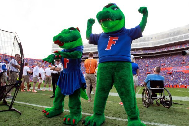 Sep 26, 2015; Gainesville, FL, USA; Florida Gators mascots, Alberta and Albert, during the second half against the Tennessee Volunteers at Ben Hill Griffin Stadium. Florida Gators defeated the Tennessee Volunteers 28-27. Mandatory Credit: Kim Klement-USA TODAY Sports