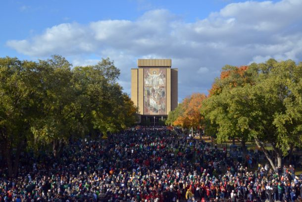 Oct 17, 2015; South Bend, IN, USA; General view of the Touchdown Jesus word of life mural on the facade of the Hesburgh Library on the campus of Notre Dame. Mandatory Credit: Kirby Lee-USA TODAY Sports