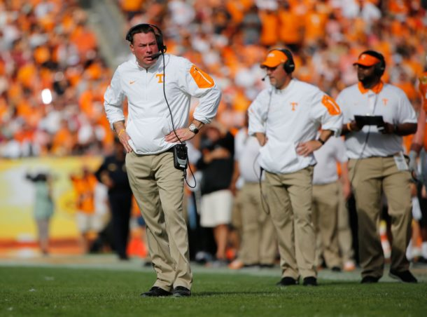 Jan 1, 2016; Tampa, FL, USA; Tennessee Volunteers head coach Butch Jones against the Northwestern Wildcats during the second half in the 2016 Outback Bowl at Raymond James Stadium. Tennessee Volunteers defeated the Northwestern Wildcats 45-6. Tennessee Volunteers Mandatory Credit: Kim Klement-USA TODAY Sports