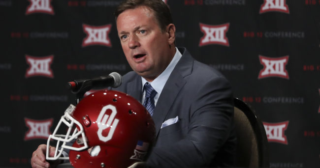 Jul 19, 2016; Dallas, TX, USA; Oklahoma Sooners head coach Bob Stoops speaks to the media during the Big 12 Media Days at Omni Dallas Hotel. Mandatory Credit: Kevin Jairaj-USA TODAY Sports