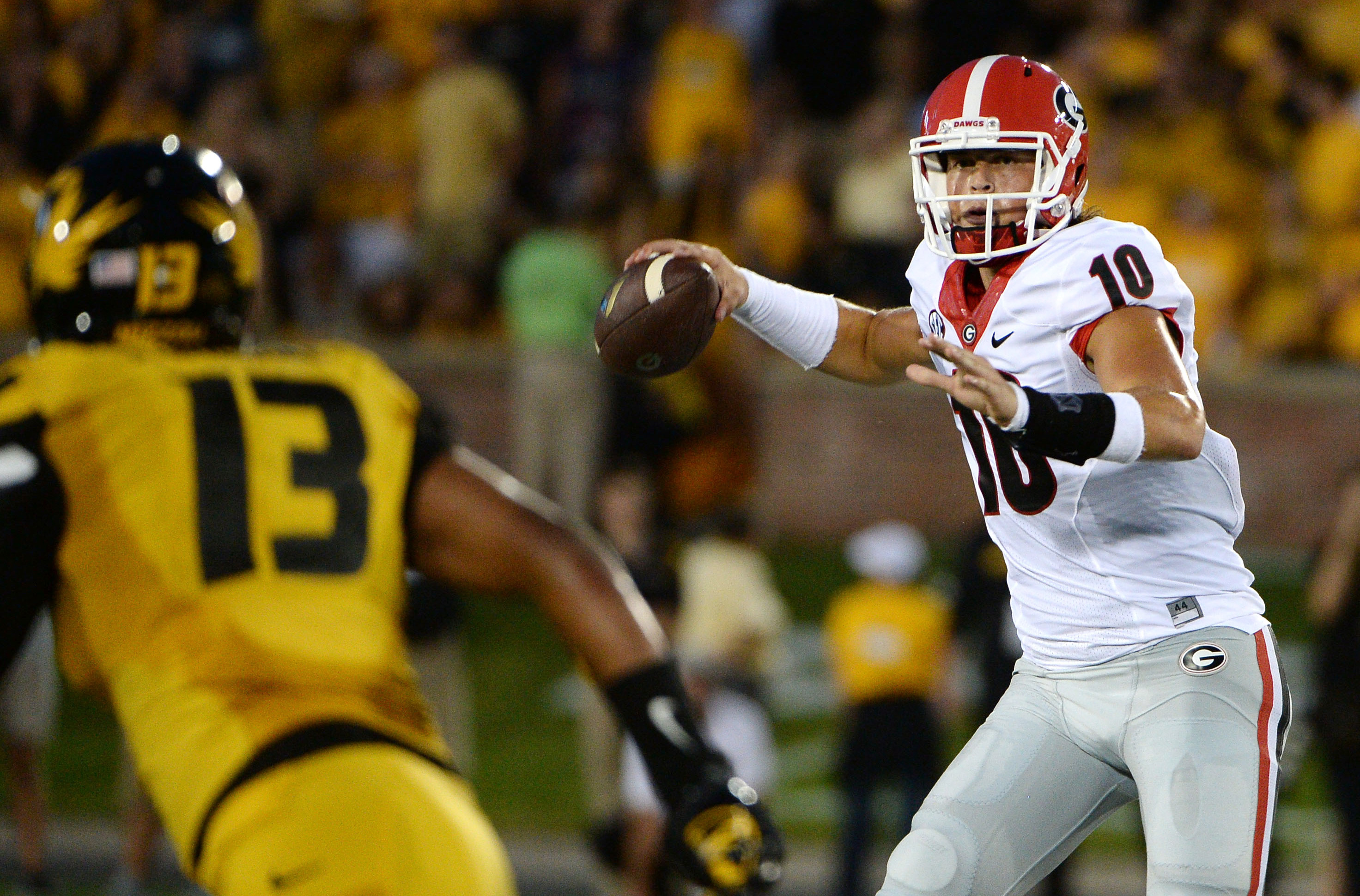 Sep 17, 2016; Columbia, MO, USA; Georgia Bulldogs quarterback Jacob Eason (10) throws the ball against the Missouri Tigers in the first half at Faurot Field. Mandatory Credit: John Rieger-USA TODAY Sports