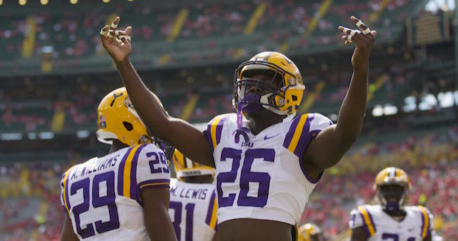 Sep 3, 2016; Green Bay, WI, USA;   LSU Tigers safety John Battle (26) fires up fans prior to the game against the Wisconsin Badgers at Lambeau Field. Mandatory Credit: Jeff Hanisch-USA TODAY Sports