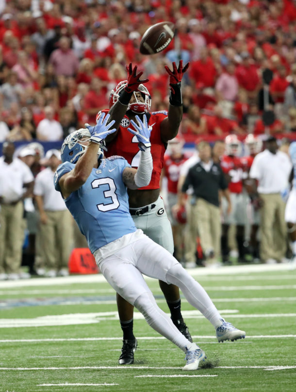 Sep 3, 2016; Atlanta, GA, USA; Georgia Bulldogs defensive back Maurice Smith (2) breaks up a pass intended for North Carolina Tar Heels wide receiver Ryan Switzer (3) during the first quarter of the 2016 Chick-Fil-A Kickoff game at Georgia Dome. Mandatory Credit: Jason Getz-USA TODAY Sports