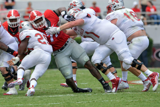 Sep 10, 2016; Athens, GA, USA; Georgia Bulldogs defensive tackle Trenton Thompson (78) tackles Nicholls State Colonels running back Dontrell Taylor (29) during the second half at Sanford Stadium. Georgia defeated Nicholls State 26-24. Mandatory Credit: Dale Zanine-USA TODAY Sports