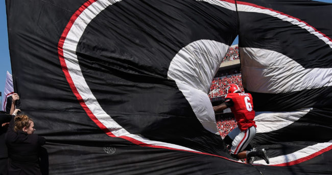 Sep 10, 2016; Athens, GA, USA; Georgia Bulldogs linebacker Natrez Patrick (6) runs through the Georgia banner on the field before the game against Nicholls State Colonels at Sanford Stadium. Georgia defeated Nicholls State 26-24. Mandatory Credit: Dale Zanine-USA TODAY Sports