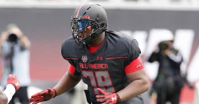 Jan 2, 2016; Orlando, FL, USA; Team Highlight player E.J. Price on the field in the Under Armour All American Football Game at the Orlando Citrus Bowl. Team Highlight beat Team Armour 27-0. Mandatory Credit: Reinhold Matay-USA TODAY Sports