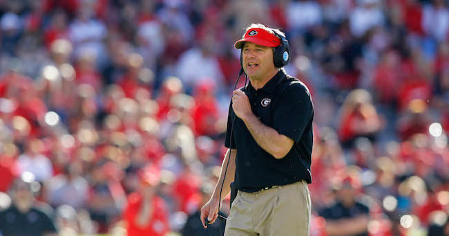 Apr 16, 2016; Athens, GA, USA; Georgia Bulldogs head coach Kirby Smart coaches during the second half of the spring game at Sanford Stadium. The Black team defeated the Red team 34-14. Mandatory Credit: Brett Davis-USA TODAY Sports