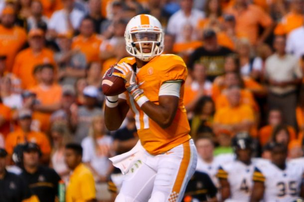 Sep 1, 2016; Knoxville, TN, USA; Tennessee Volunteers quarterback Joshua Dobbs (11) looks to pass against the Appalachian State Mountaineers during the first quarter at Neyland Stadium. Mandatory Credit: Randy Sartin-USA TODAY Sports