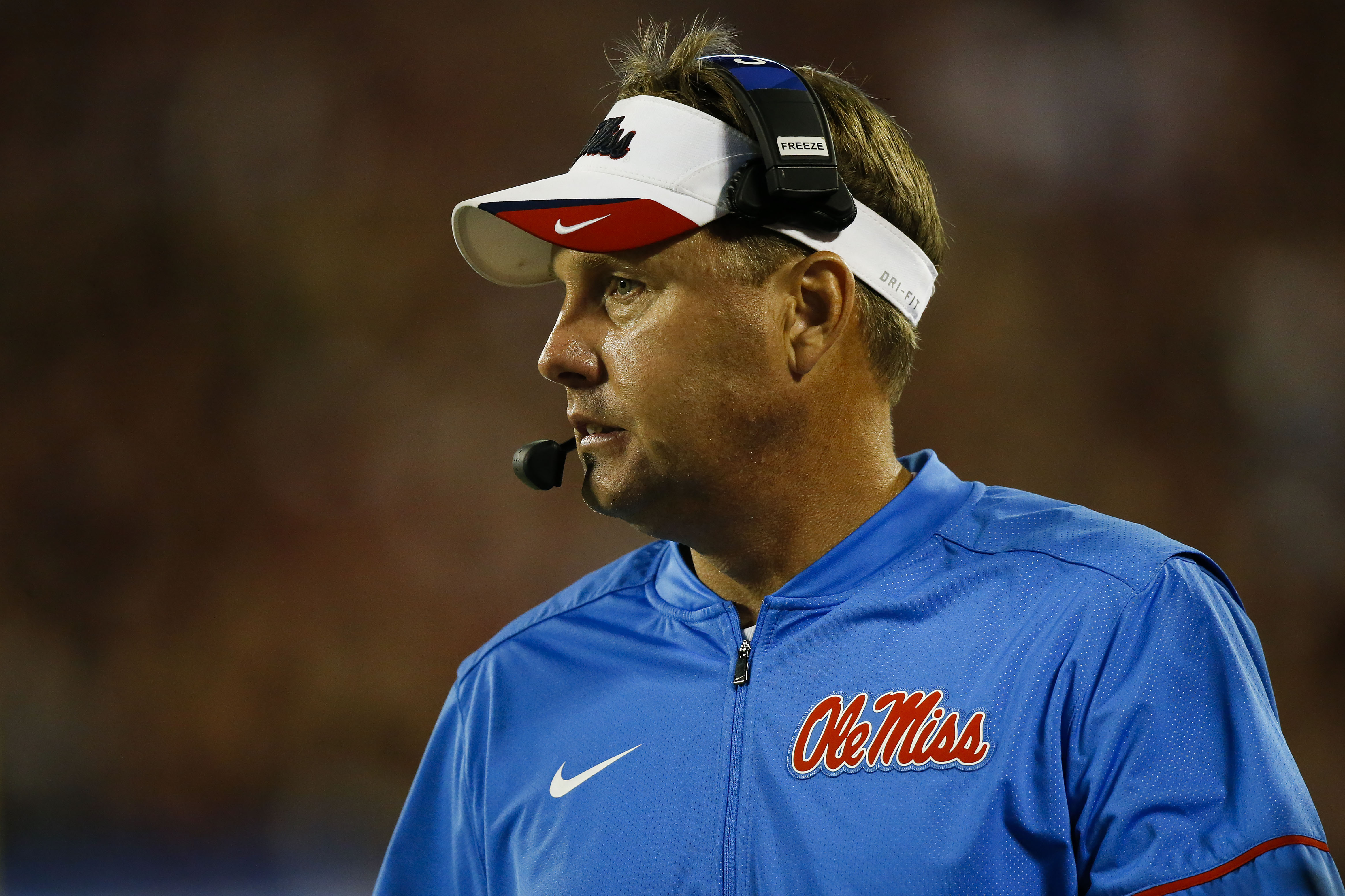 Sep 5, 2016; Orlando, FL, USA; Mississippi Rebels head coach Hugh Freeze looks on during the third quarter against the Florida State Seminoles at Camping World Stadium. Florida State Seminoles won 45-34. Mandatory Credit: Logan Bowles-USA TODAY Sports