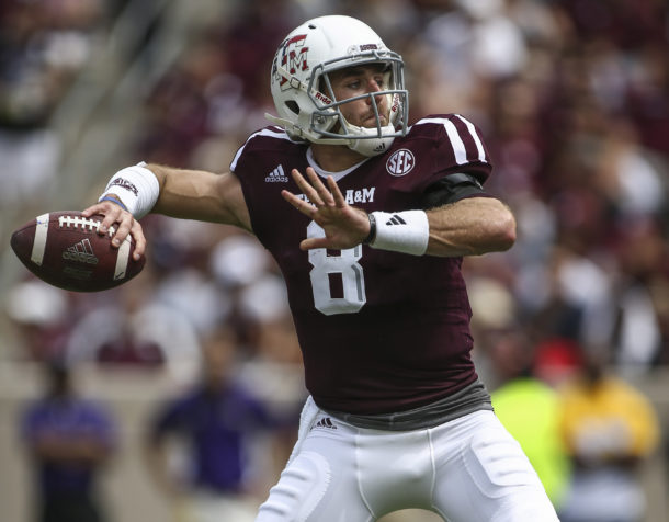 Sep 10, 2016; College Station, TX, USA; Texas A&M Aggies quarterback Trevor Knight (8) attempts a pass during the second quarter against the Prairie View A&M Panthers at Kyle Field. Mandatory Credit: Troy Taormina-USA TODAY Sports