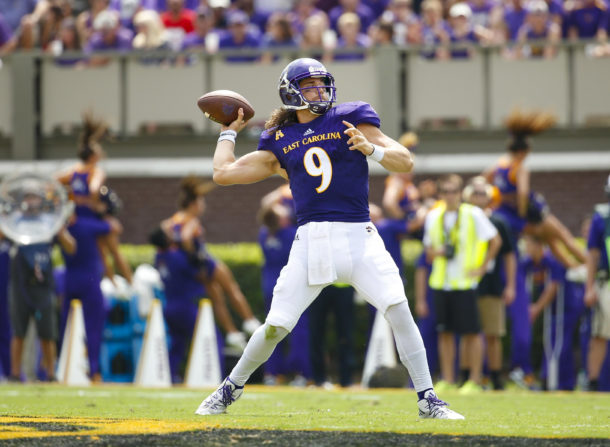 Sep 10, 2016; Greenville, NC, USA;  East Carolina Pirates quarterback Philip Nelson (9) throws the ball during the second quarter against the North Carolina State Wolfpack at Dowdy-Ficklen Stadium. East Carolina Pirates defeated the North Carolina State Wolfpack 33-30. Mandatory Credit: James Guillory-USA TODAY Sports