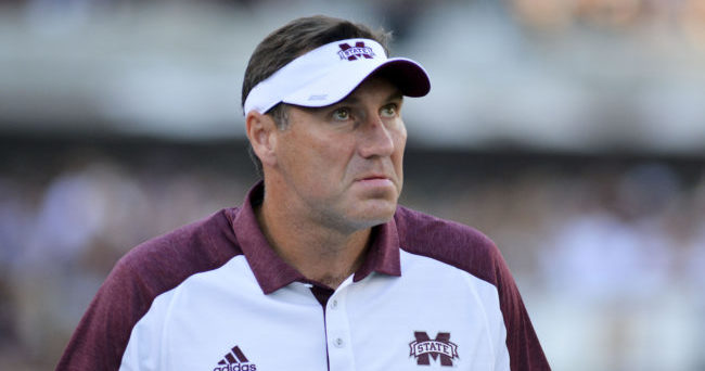 Sep 10, 2016; Starkville, MS, USA; Mississippi State Bulldogs head coach Dan Mullen looks at the scoreboard during the first quarter of the game against the South Carolina Gamecocks at Davis Wade Stadium. Mandatory Credit: Matt Bush-USA TODAY Sports