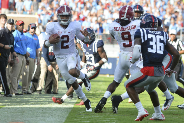 Sep 17, 2016; Oxford, MS, USA; Alabama Crimson Tide quarterback Jalen Hurts (2) attempts to stay inbounds during the third quarter of the game against the Mississippi Rebels at Vaught-Hemingway Stadium. Alabama won 48-43. Mandatory Credit: Matt Bush-USA TODAY Sports
