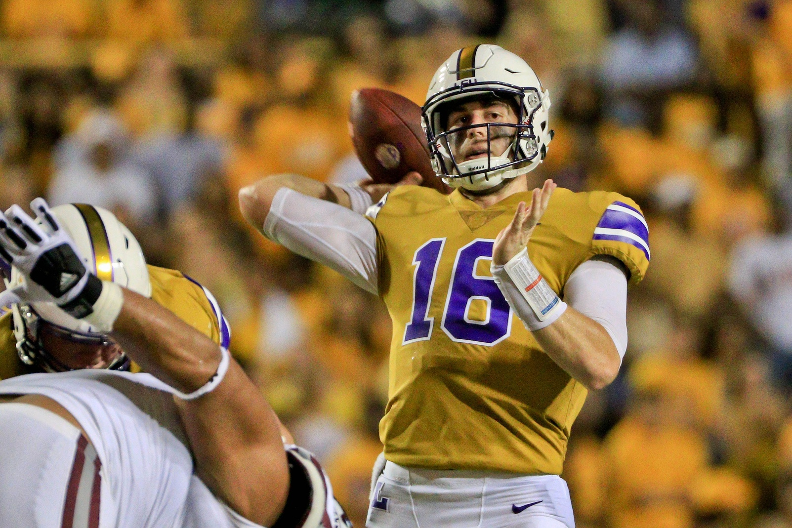 Sep 17, 2016; Baton Rouge, LA, USA; LSU Tigers quarterback Danny Etling (16) throws a pass against the Mississippi State Bulldogs during the second quarter of a game at Tiger Stadium. Mandatory Credit: Derick E. Hingle-USA TODAY Sports