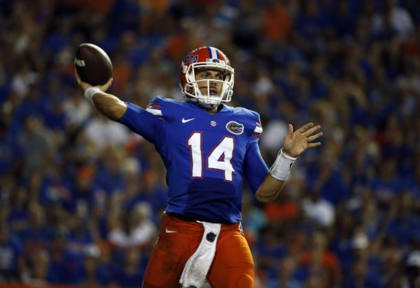 Sep 17, 2016; Gainesville, FL, USA; Florida Gators quarterback Luke Del Rio (14) throws the ball during the second half against the North Texas Mean Green at Ben Hill Griffin Stadium. Florida Gators defeated the North Texas Mean Green 32-0. Mandatory Credit: Kim Klement-USA TODAY Sports