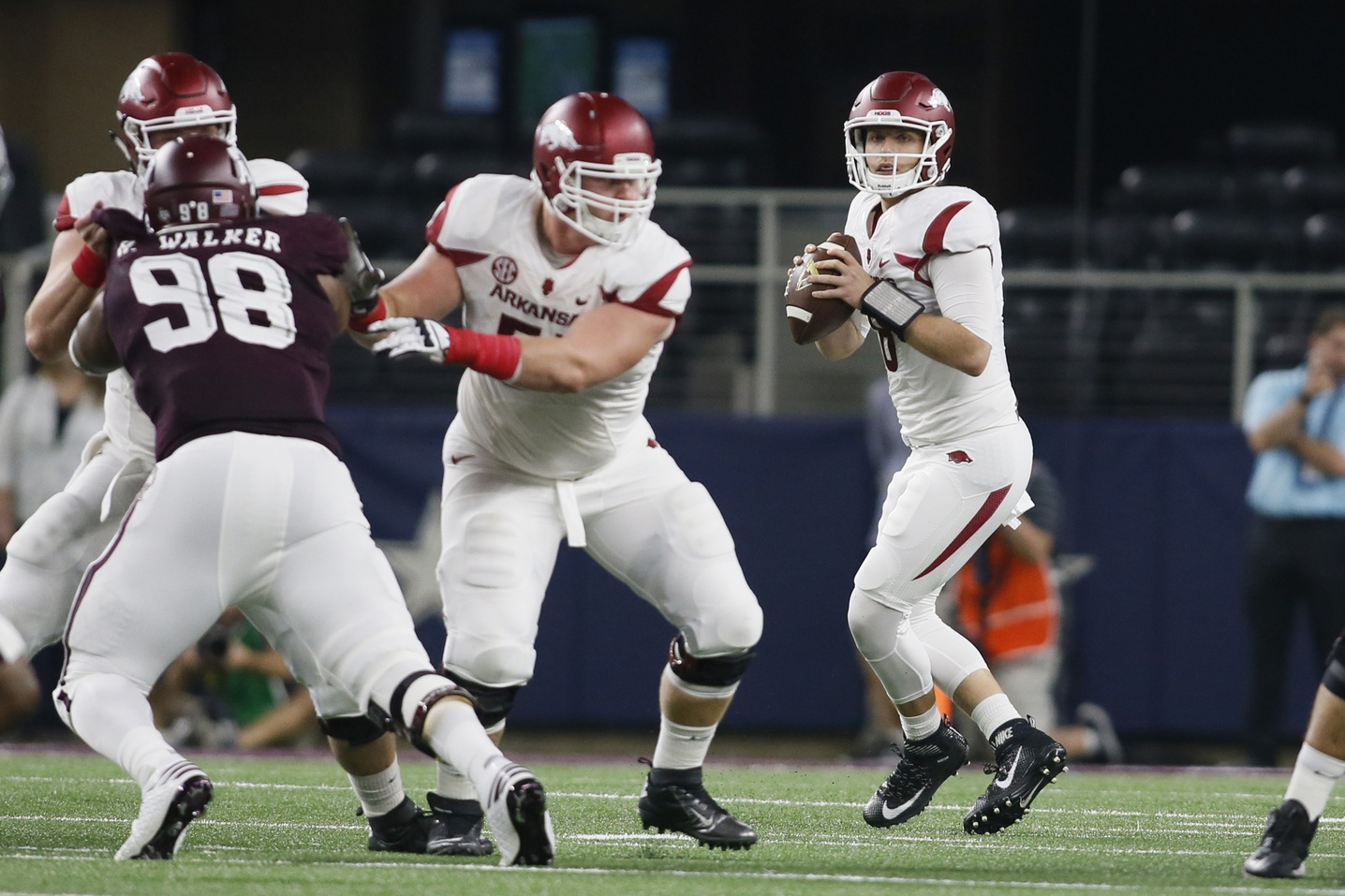 Sep 24, 2016; Dallas, TX, USA; Arkansas Razorbacks quarterback Austin Allen (8) stands in the pocket to pass in the first quarter against the Texas A&M Aggies at AT&T Stadium. Mandatory Credit: Tim Heitman-USA TODAY Sports