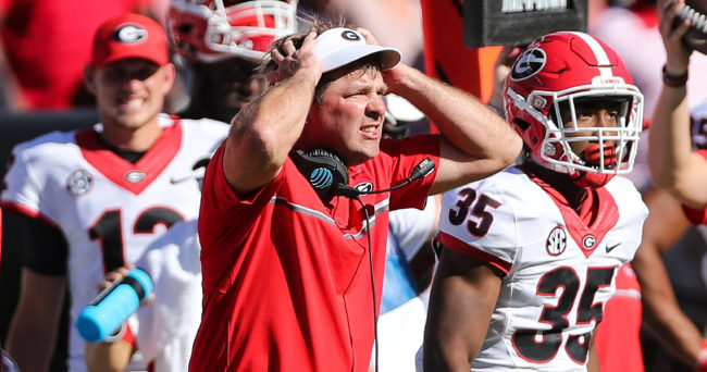 Oct 9, 2016; Columbia, SC, USA;  Georgia Bulldogs head coach Kirby Smart reacts to his offense against the South Carolina Gamecocks during the second quarter at Williams-Brice Stadium. Mandatory Credit: Jim Dedmon-USA TODAY Sports