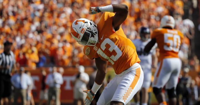 Jan 1, 2016; Tampa, FL, USA; Tennessee Volunteers defensive back Malik Foreman (13) reacts as he makes a tackle against the Northwestern Wildcats during the first quarter in the 2016 Outback Bowl at Raymond James Stadium. Mandatory Credit: Kim Klement-USA TODAY Sports