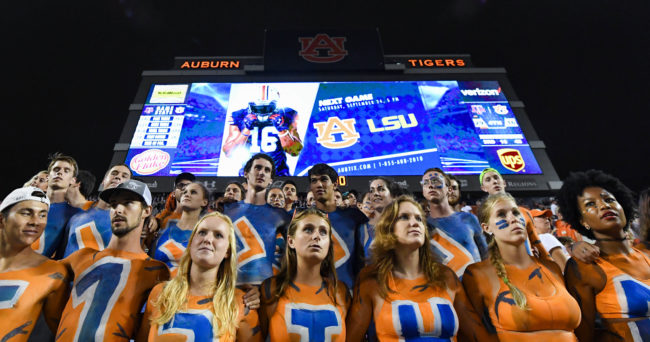 Sep 17, 2016; Auburn, AL, USA; Auburn Tigers fans in body paint react after the game against the Texas A&M Aggies at Jordan Hare Stadium. Texas A&M defeated Aubrn 29-16. Mandatory Credit: Shanna Lockwood-USA TODAY Sports