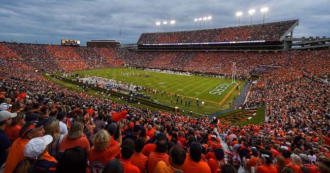 Sep 17, 2016; Auburn, AL, USA; View of the stadium as fans stripe the stadium in orange and blue during the first quarter between the Auburn Tigers and the Texas A&M Aggies at Jordan Hare Stadium. Mandatory Credit: Shanna Lockwood-USA TODAY Sports