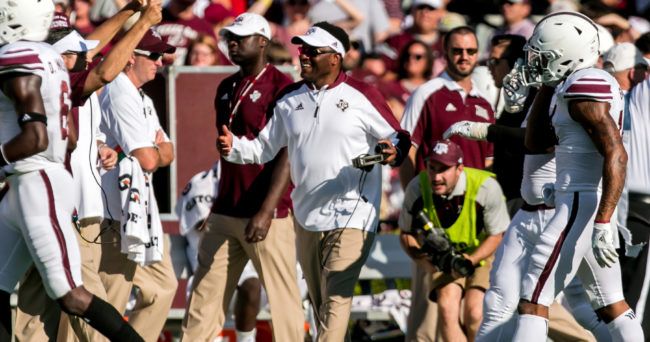Oct 1, 2016; Columbia, SC, USA;  Texas A&M Aggies head coach Kevin Sumlin reacts to a play against the South Carolina Gamecocks at Williams-Brice Stadium. Mandatory Credit: Jeff Blake-USA TODAY Sports