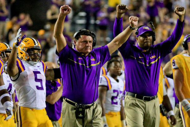 Oct 1, 2016; Baton Rouge, LA, USA; LSU Tigers interim head coach Ed Orgeron celebrates after a touchdown against the Missouri Tigers during the fourth quarter of a game at Tiger Stadium. Mandatory Credit: Derick E. Hingle-USA TODAY Sports