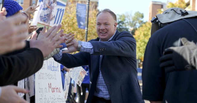 Oct 22, 2016; Lexington, KY, USA; Kentucky Wildcats head coach Mark Stoops interacts with fans before the SEC Nation show before the game with the Kentucky Wildcats and the Mississippi State Bulldogs at Commonwealth Stadium. Mandatory Credit: Mark Zerof-USA TODAY Sports