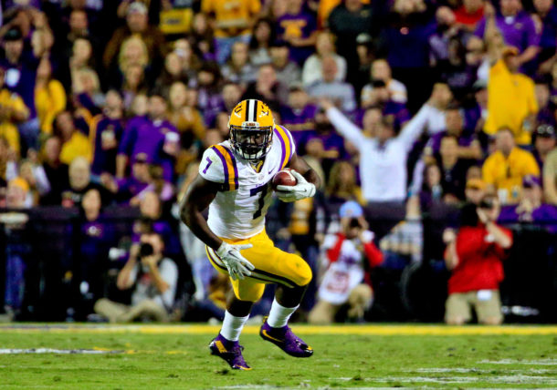 Oct 22, 2016; Baton Rouge, LA, USA; LSU Tigers running back Leonard Fournette (7) runs against the Mississippi Rebels during the second quarter of a game at Tiger Stadium. Mandatory Credit: Derick E. Hingle-USA TODAY Sports