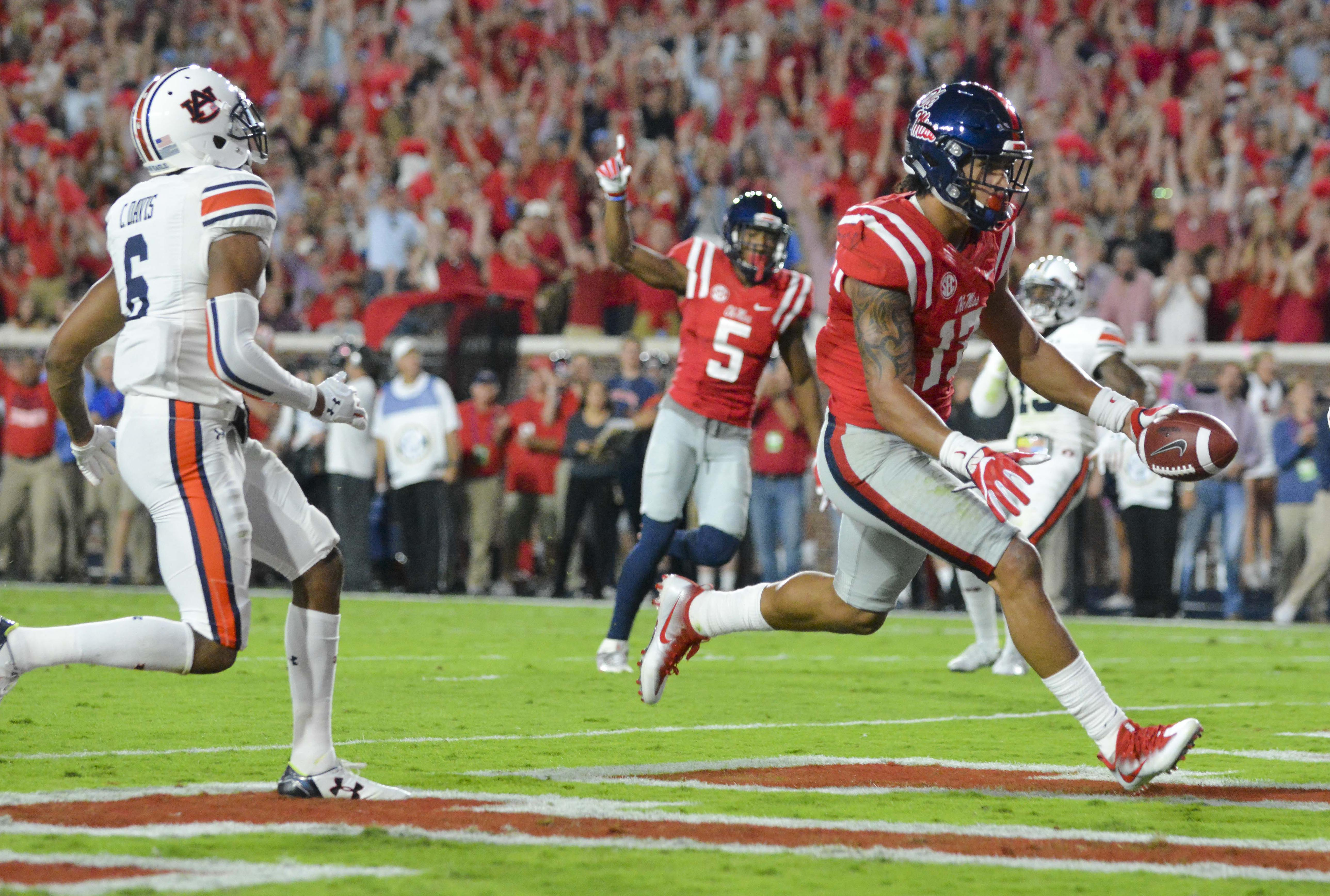 Oct 29, 2016; Oxford, MS, USA; Mississippi Rebels tight end Evan Engram (17) scores a touchdown during the first quarter of the game against the Auburn Tigers at Vaught-Hemingway Stadium. Mandatory Credit: Matt Bush-USA TODAY Sports