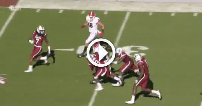 e7d12d6d0 Video  Georgia RB Nick Chubb breaks several tackles on big first down run