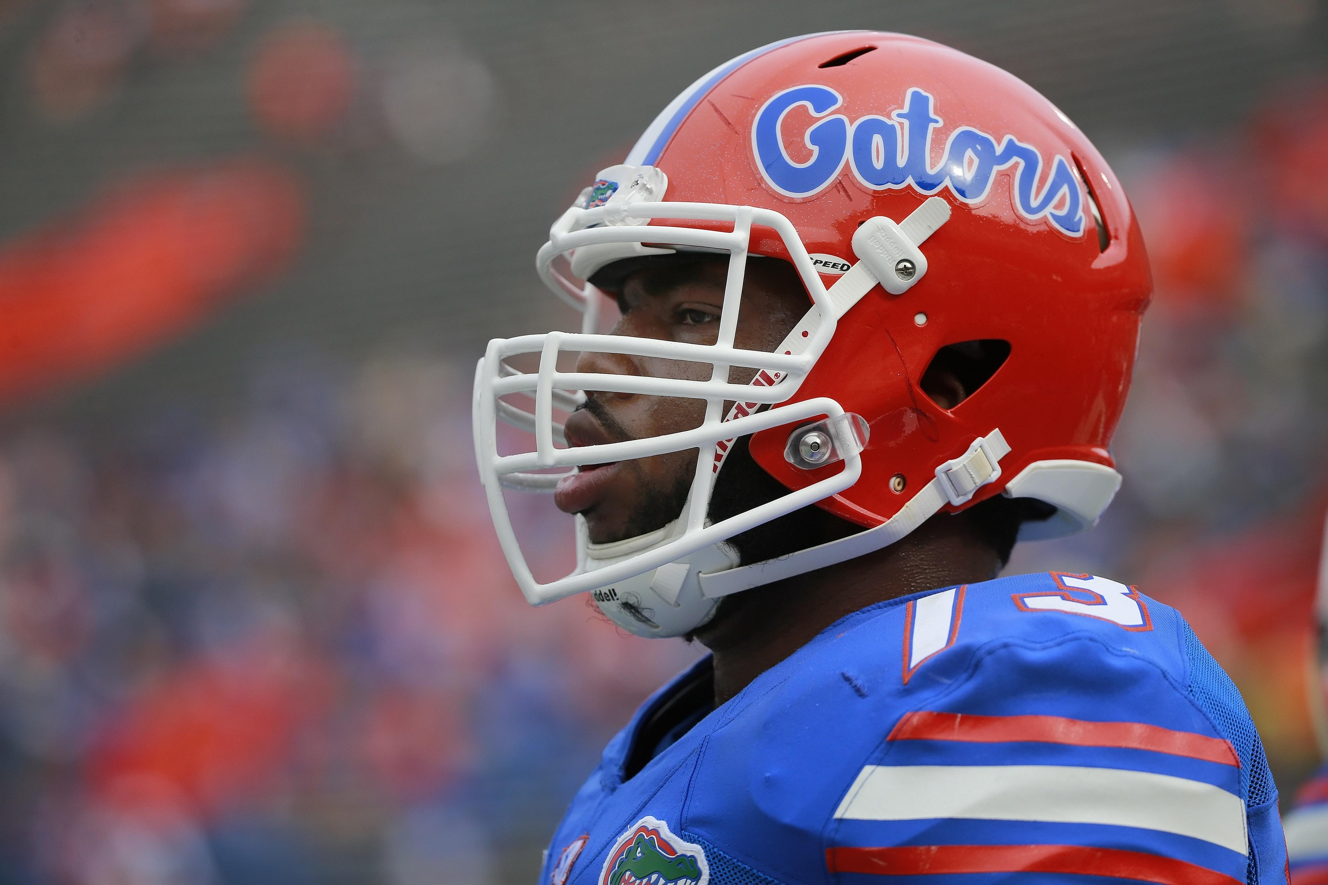 Nov 21, 2015; Gainesville, FL, USA; Florida Gators offensive lineman Martez Ivey (73) works out prior to the game against the Florida Atlantic Owls at Ben Hill Griffin Stadium. Mandatory Credit: Kim Klement-USA TODAY Sports