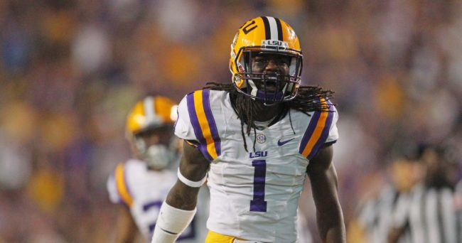 Nov 28, 2015; Baton Rouge, LA, USA; LSU Tigers defensive back Donte Jackson (1) celebrates a turnover against the Texas A&M Aggies in the first quarter at Tiger Stadium. Mandatory Credit: Crystal LoGiudice-USA TODAY Sports