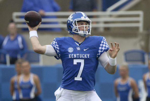 Sep 17, 2016; Lexington, KY, USA; Kentucky Wildcats quarterback Drew Barker (7) passes the ball against the New Mexico State Aggies in the first quarter at Commonwealth Stadium. Mandatory Credit: Mark Zerof-USA TODAY Sports