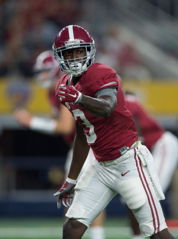 Sep 3, 2016; Arlington, TX, USA; Alabama Crimson Tide wide receiver Calvin Ridley (3) in action during the game against the USC Trojans at AT&T Stadium. Alabama defeats USC 52-6. Mandatory Credit: Jerome Miron-USA TODAY Sports