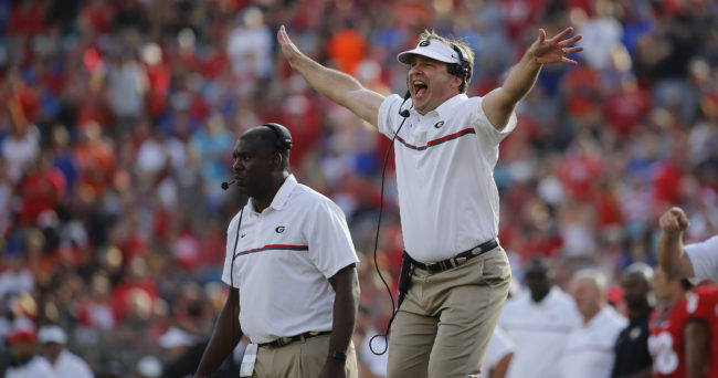 Oct 29, 2016; Jacksonville, FL, USA; Georgia Bulldogs head coach Kirby Smart reacts against the Florida Gators during the first half at EverBank Field. Mandatory Credit: Kim Klement-USA TODAY Sports